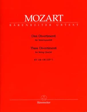 3 Divertimenti KV 136-138 125a-c - Streichquartett - parties instrumentales laflutedepan