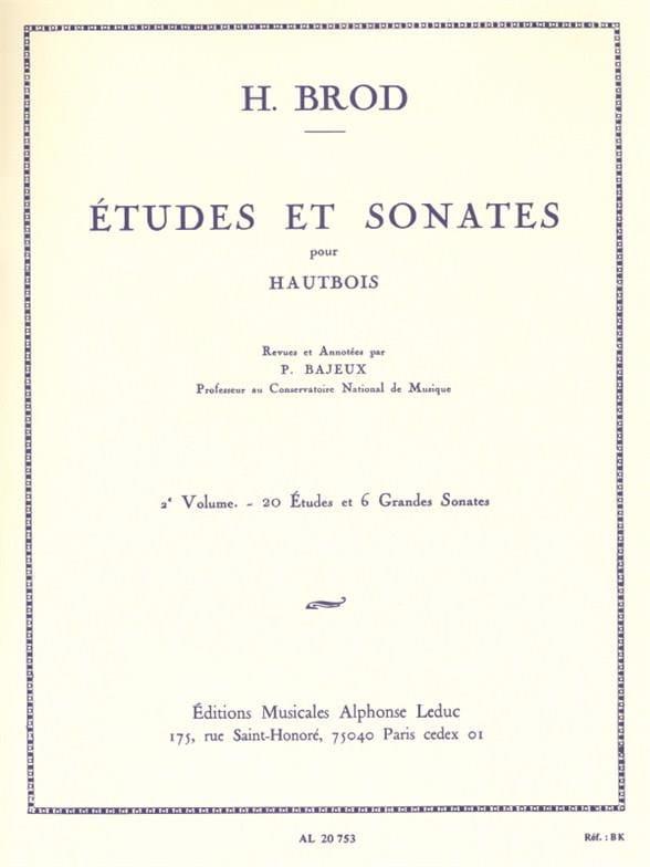 Etudes et Sonates - Volume 2 - Henri Brod - laflutedepan.com