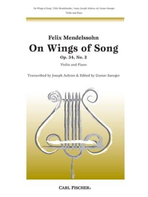 On Wings of Song op. 34 n° 2 MENDELSSOHN Partition laflutedepan