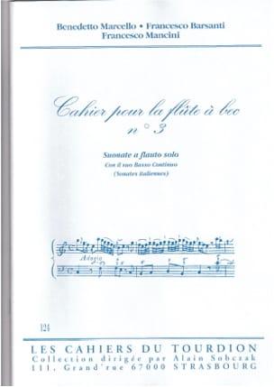 Cahier N°3 Sonates Italiennes - Partition - laflutedepan.com