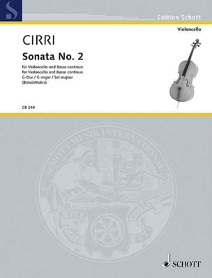 Sonate N°2 en Sol Majeur Giambattista Cirri Partition laflutedepan