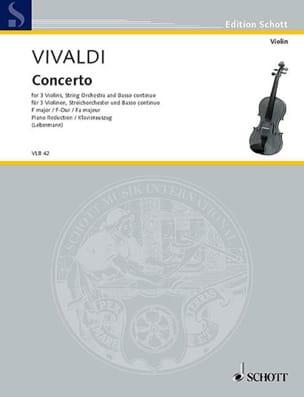 Konzert F-Dur - 3 Violons Piano VIVALDI Partition laflutedepan