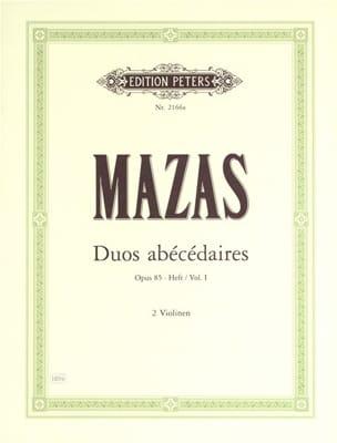 Duos abécédaires op. 85 cahier 1 MAZAS Partition Violon - laflutedepan
