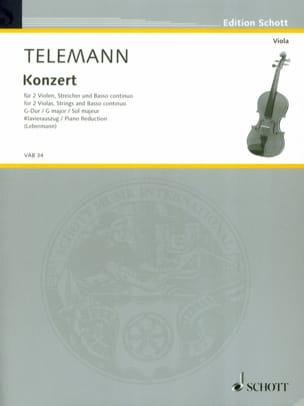 Konzert G-Dur -2 Violen Klavier TELEMANN Partition laflutedepan