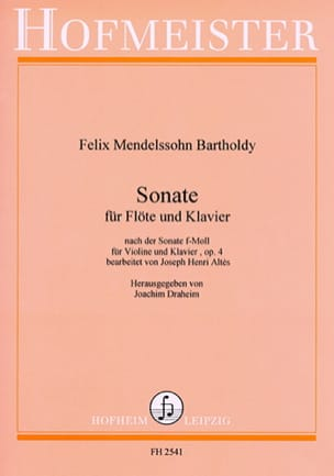 Sonate f-moll op. 4 - Flöte Klavier MENDELSSOHN Partition laflutedepan