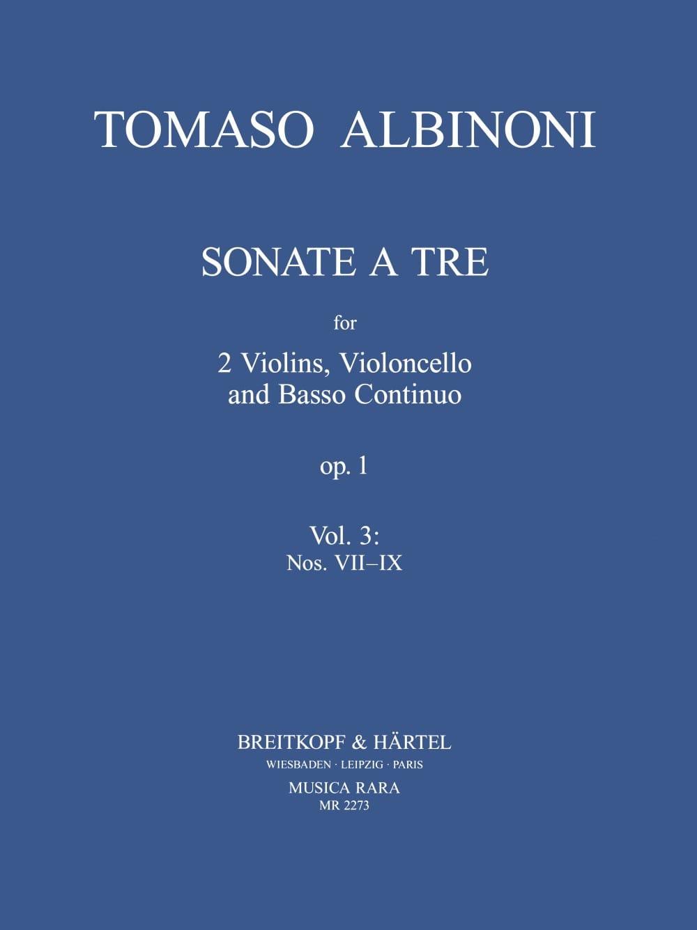 Sonate A Tre Op.1 Vol.3 - ALBINONI - Partition - laflutedepan.com