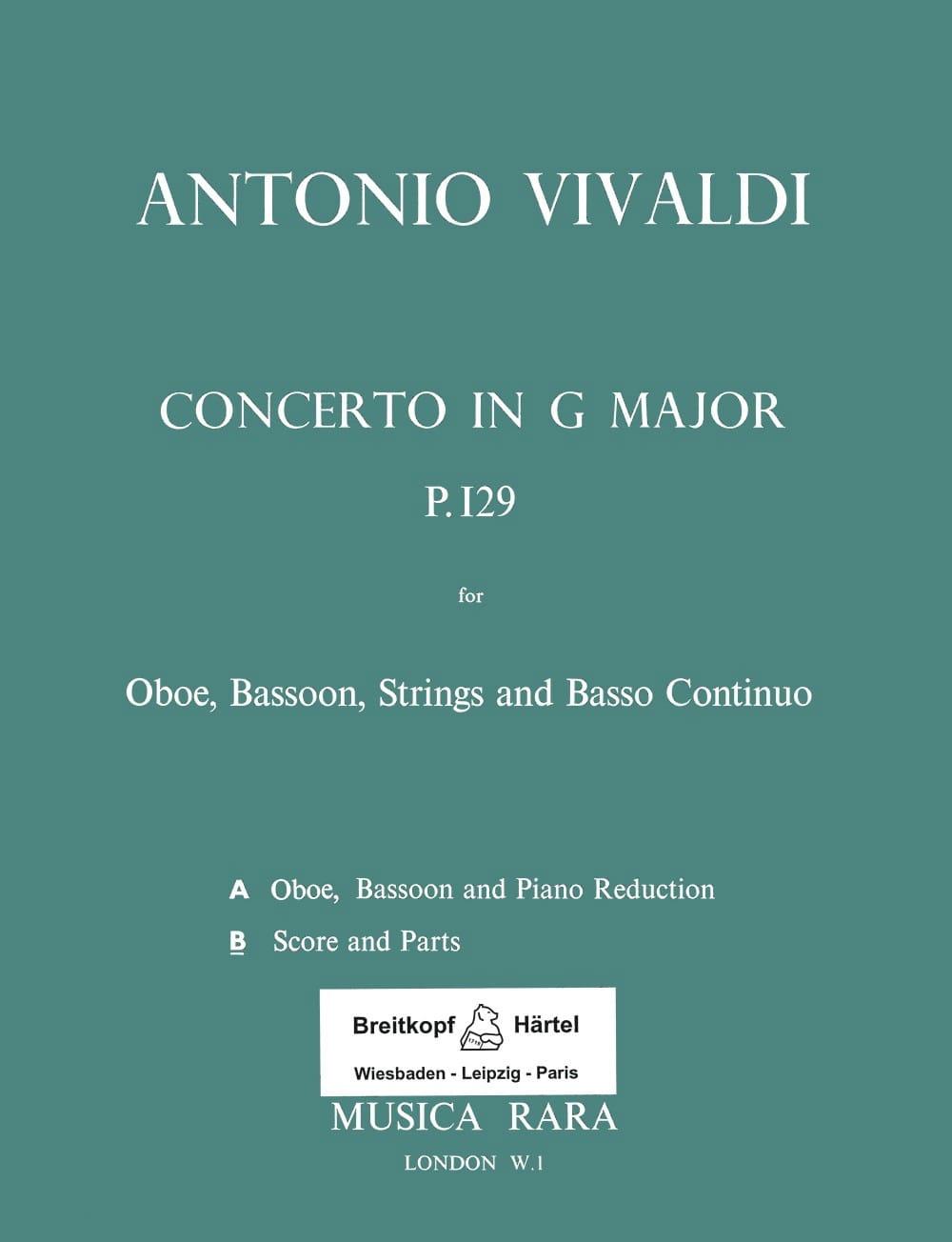 Concerto G-Dur Rv 545 - Oboe, Fagott, Streicher et Bc - laflutedepan.com