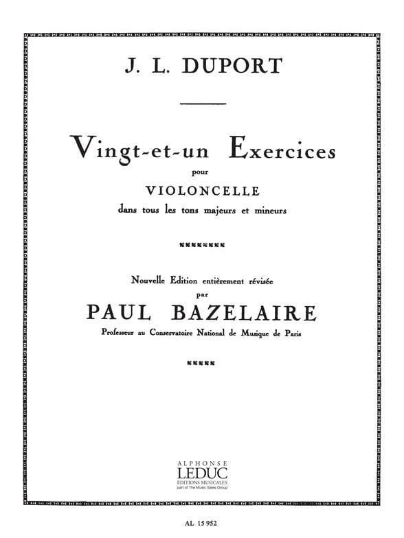 21 Exercices pour violoncelle - Jean Louis Duport - laflutedepan.com