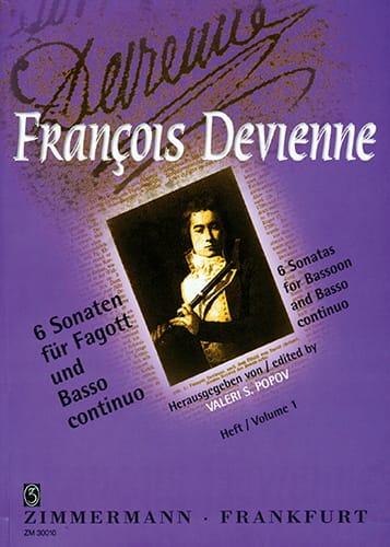 6 Sonaten Volume 1 - Fagott Und Bc - DEVIENNE - laflutedepan.com