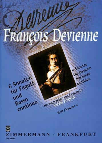 6 Sonaten Heft 2 - Fagott und BC - DEVIENNE - laflutedepan.com