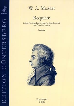Requiem Kv 626 - Quatuor Parties MOZART Partition laflutedepan