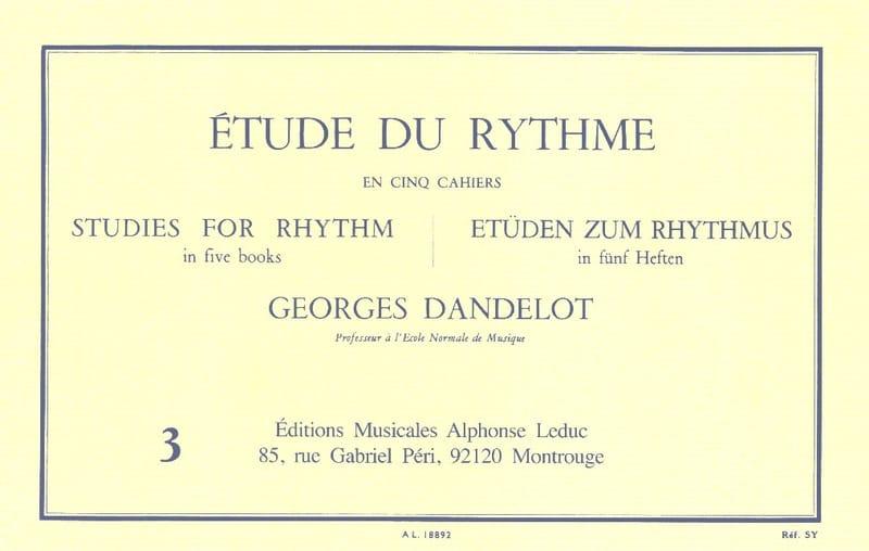 Etude du Rythme Volume 3 - DANDELOT - Partition - laflutedepan.be