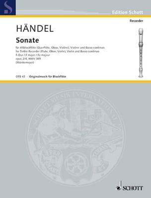 Sonate F-Dur -Altblockflöte Violine Bc HAENDEL Partition laflutedepan