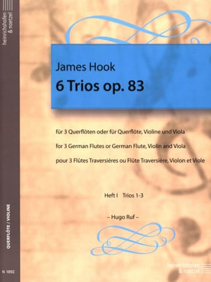 6 Trios op. 83 Heft 1 - 3 Flöten James Hook Partition laflutedepan