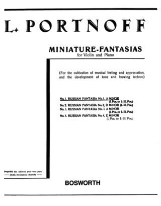 Fantaisie Russe N° 1 en La Mineur - Leo Portnoff - laflutedepan.com
