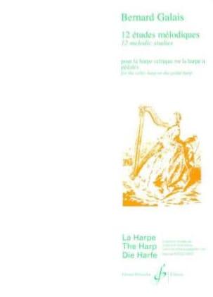 12 Etudes mélodiques Bernard Galais Partition Harpe - laflutedepan