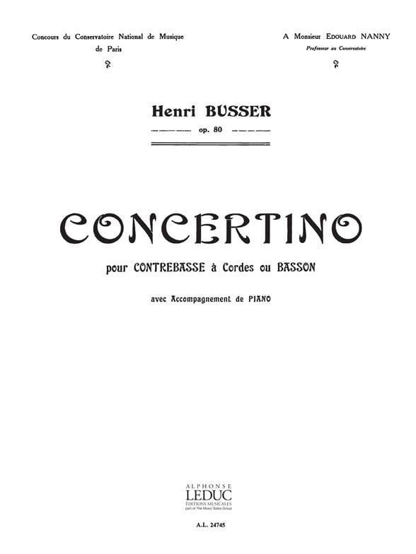 Concertino op. 80 - Henri Busser - Partition - laflutedepan.com