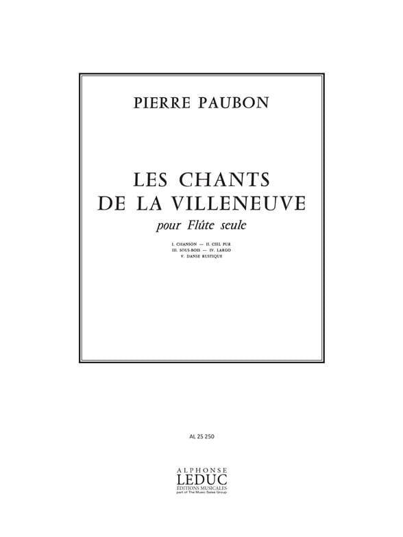 Chants De La Villeneuve - Pierre Paubon - Partition - laflutedepan.com
