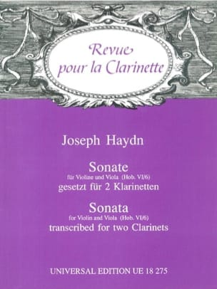 Sonate Hob. 6/6 - 2 Klarinetten HAYDN Partition laflutedepan