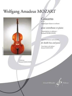 Concerto Kv 191 - Contrebasse et Piano MOZART Partition laflutedepan