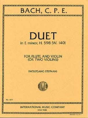 Duet in E minor H. 598 w. 140 - Flute Violin - laflutedepan.com
