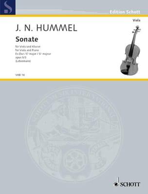 Sonate Es-Dur, op. 5 n° 3 HUMMEL Partition Alto - laflutedepan