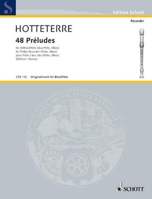 48 Préludes - Altblockflöte Jacques Hotteterre Partition laflutedepan