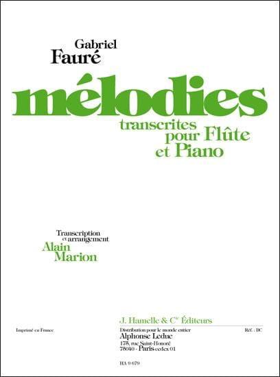Mélodies - Flûte et Piano - FAURÉ - Partition - laflutedepan.com