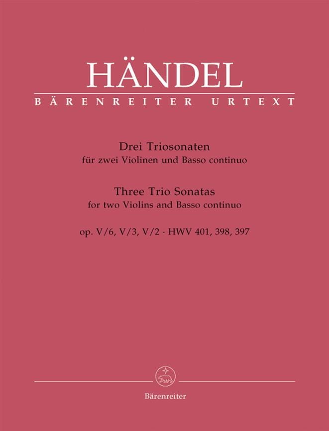 3 Triosonaten op. 5 n° 6, 3, 2 HWV 401, 398, 397 -Stimmen - laflutedepan.com