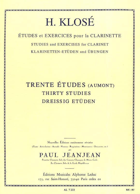 30 Etudes d'après Henry Aumont - Hyacinthe Klosé - laflutedepan.com