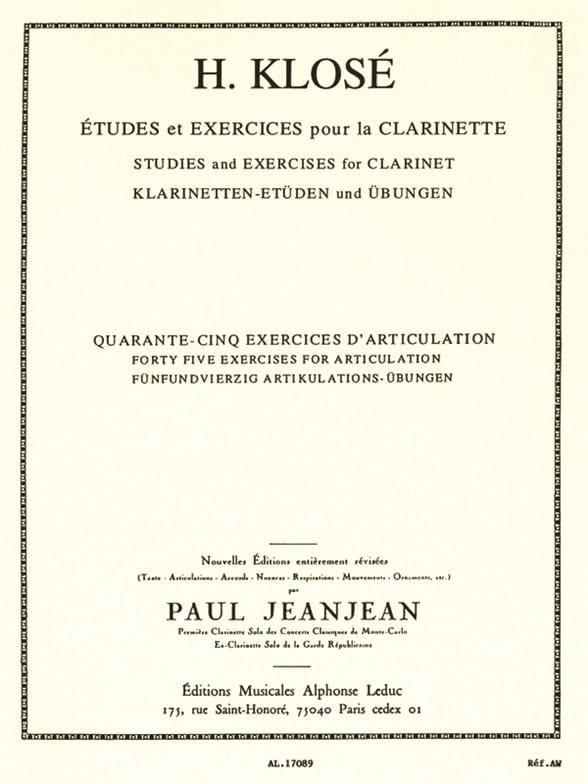 45 Exercices d'articulation - Hyacinthe Klosé - laflutedepan.com