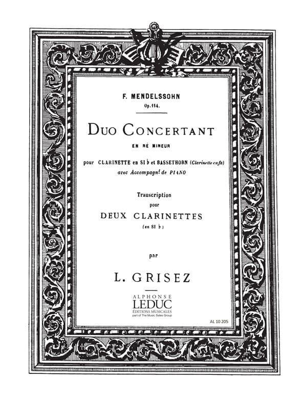 Duo concertant op. 114 ré mineur - MENDELSSOHN - laflutedepan.com