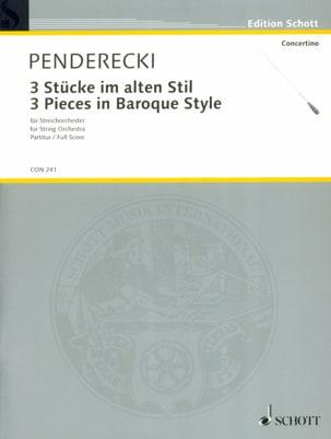 3 Stücke im alten Stil 1963 - Partitur PENDERECKI laflutedepan