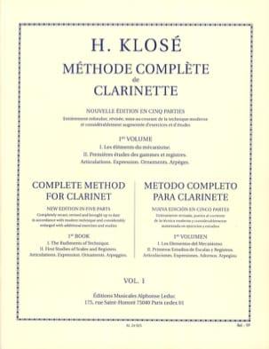 Méthode Complète de Clarinette Volume 1 Hyacinthe Klosé laflutedepan