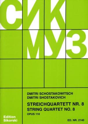 Streichquartett Nr. 8 op. 110 - Stimmen CHOSTAKOVITCH laflutedepan