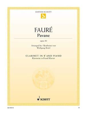Pavane Op. 50 FAURÉ Partition Clarinette - laflutedepan