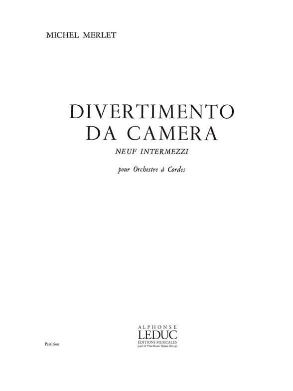 Divertimento Da Camera - Michel Merlet - Partition - laflutedepan.com