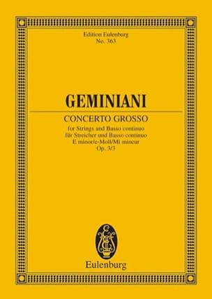 Concerto grosso e-moll Francesco S Geminiani Partition laflutedepan