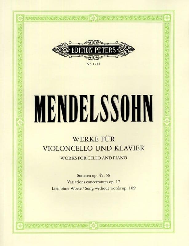 Oeuvres pour violoncelle et piano - MENDELSSOHN - laflutedepan.com