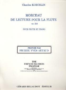Morceau de lecture pour Flûte op. 218 Charles Koechlin laflutedepan
