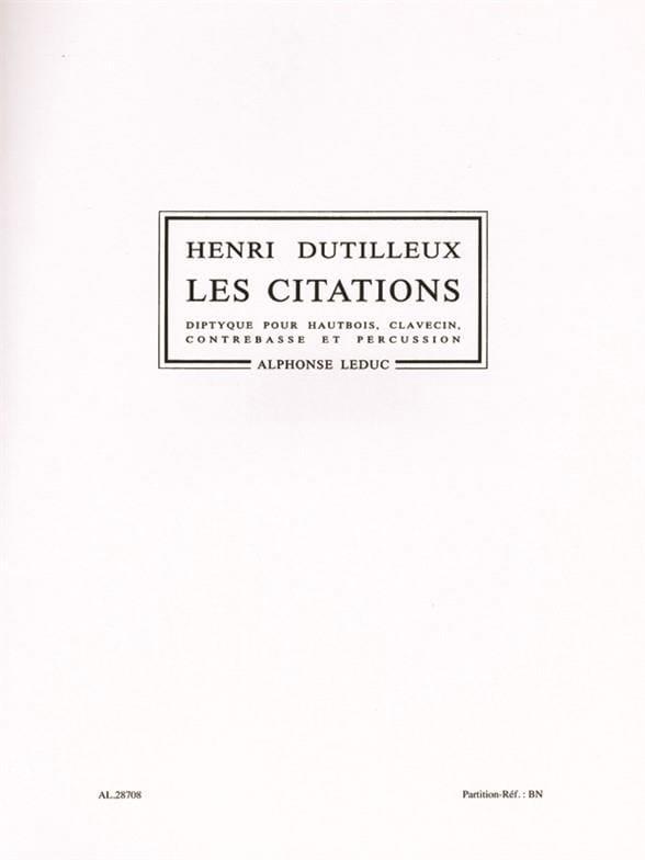 Les Citations - DUTILLEUX - Partition - laflutedepan.com