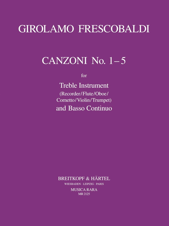 Canzoni n° 1-5 - Treble instr. and Bc - FRESCOBALDI - laflutedepan.com