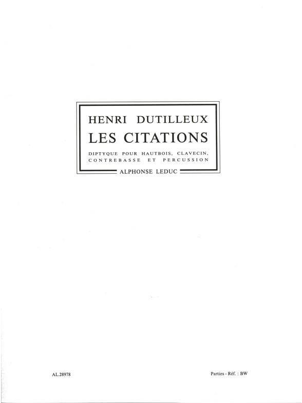 Les Citations -Parties - DUTILLEUX - Partition - laflutedepan.com