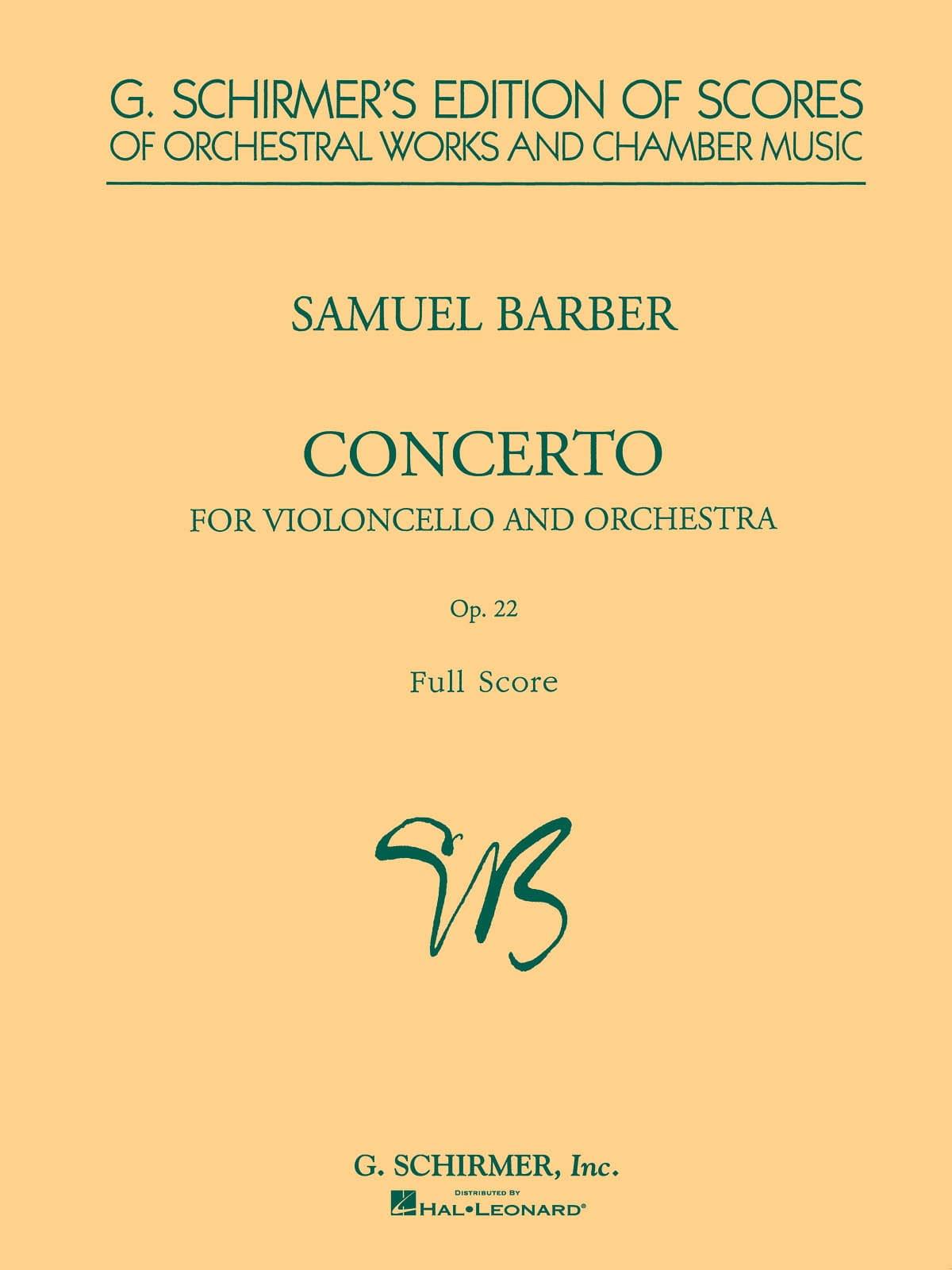 Concerto Violoncelle et orchestre op. 22 - BARBER - laflutedepan.com