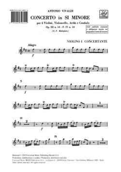 Concerto in si minore op. 3 n° 10 / F. 4 n° 10 - Matériel laflutedepan