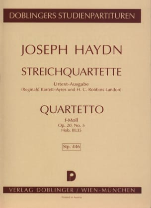 Streichquartett f-moll op. 20 n° 5 Hob. 3 : 35 - Partitur laflutedepan