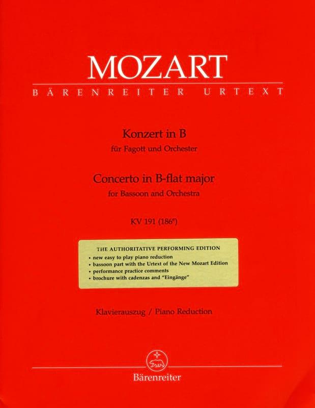 Fagottkonzert B-Dur KV 191 186e -Fagott Klavier - laflutedepan.com