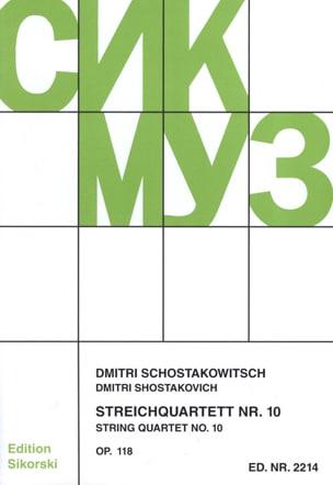 Streichquartett Nr. 10 op. 118 - Stimmen CHOSTAKOVITCH laflutedepan
