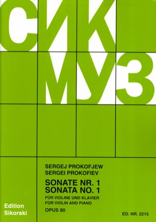 Sonate Nr. 1 op. 80 PROKOFIEV Partition Violon - laflutedepan