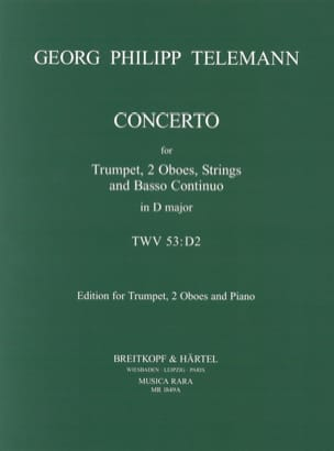 Concerto N° 3 in D -Trumpet 2 oboes piano red. TELEMANN laflutedepan